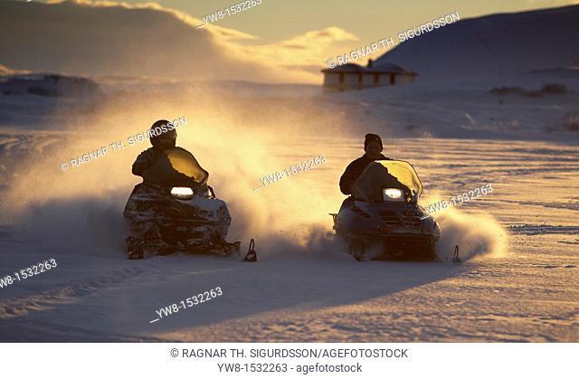 Snowmobiles, Lake Myvatn, Iceland