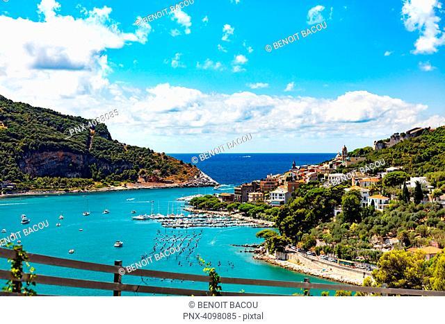 Portovenere, Cinque Terre, Liguria, Italy - August 09, 2018 - Aerial view of the village and harbor