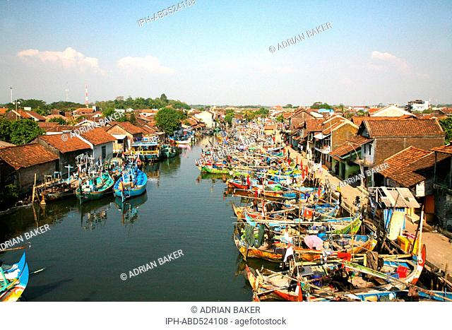 Indonesia Central Java Jepara Fishing boats moored on the river
