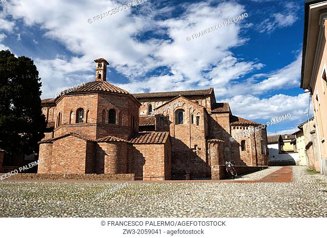Low angle view of a church, Church Of St. Maria Maggiore, Baptistery Of St. Giovanni. Lomello, Italy