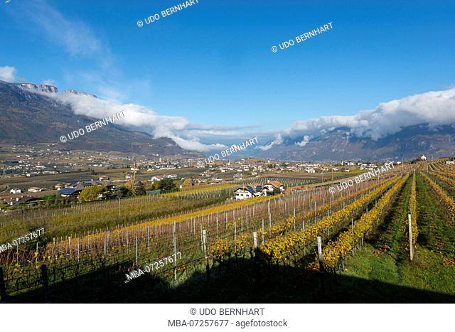 Italy, South Tyrol, Alto Adige, Überetsch, South Tyrol's South, Wine Route, Girlan, View from the residence Rungghof of Manuel Ebner