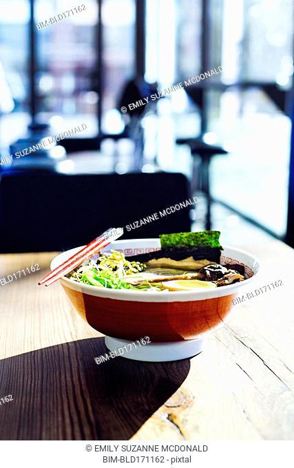 Bowl of ramen on restaurant table