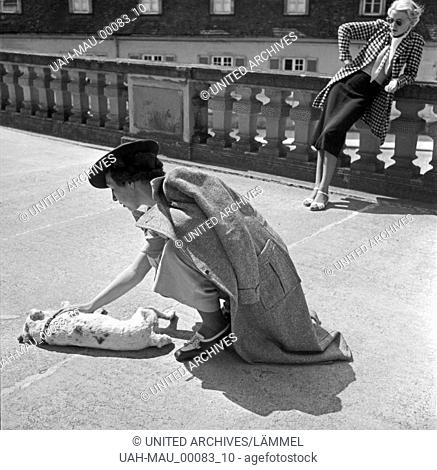 Zwei Frauen spielen mit einem Foxterrier auf dem Balkon von Schloß Solitude in Stuttgart, Deutschland 1930er Jahre. Two woman playing with a fox terrier on the...
