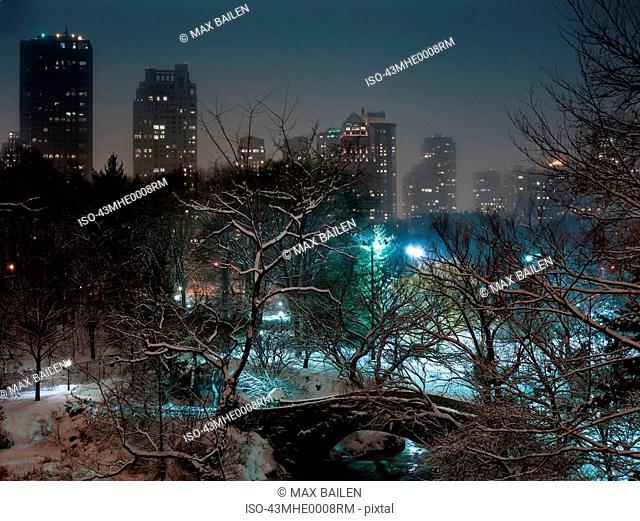 Snowy urban park in city center