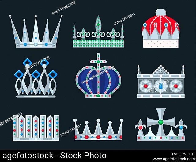 Crown king vintage premium white badge heraldic ornament icon tiara logo and luxury emblem kingdom princess baroque vector illustration