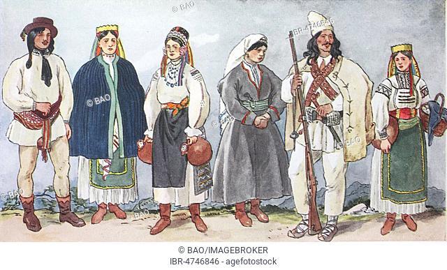 Fashion, clothes, folk costumes in Romania, Transylvania, illustration, Romania
