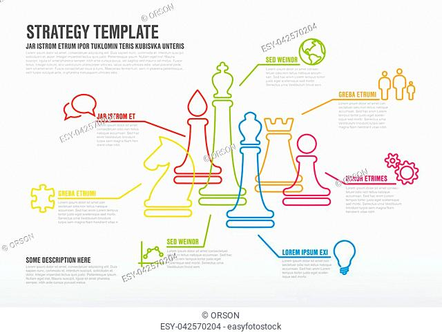 Vector business strategy infographic template with thin line chess figures
