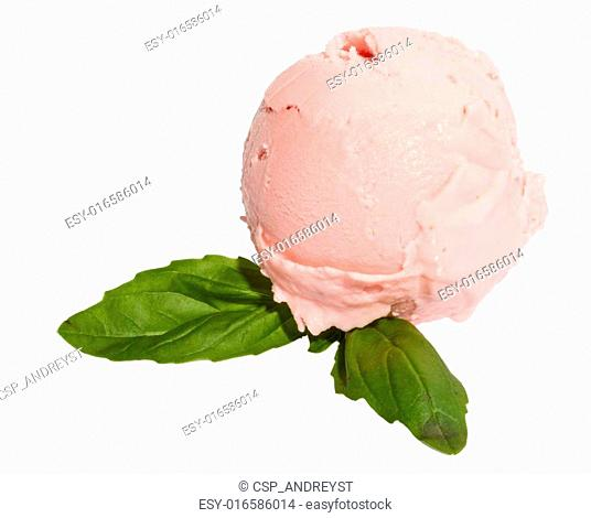 Scoop of strawberry ice cream from top on white background with mint