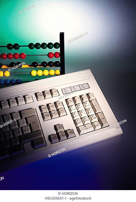 Still life, Computer keyboard & abacus