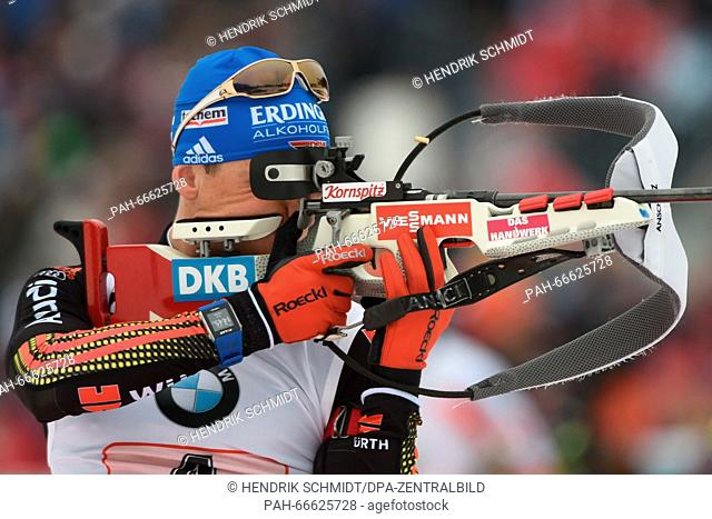 Erik Lesser of Germany at the shooting range before the Men's 4x7.5 km relay competition at the Biathlon World Championships, in the Holmenkollen Ski Arena