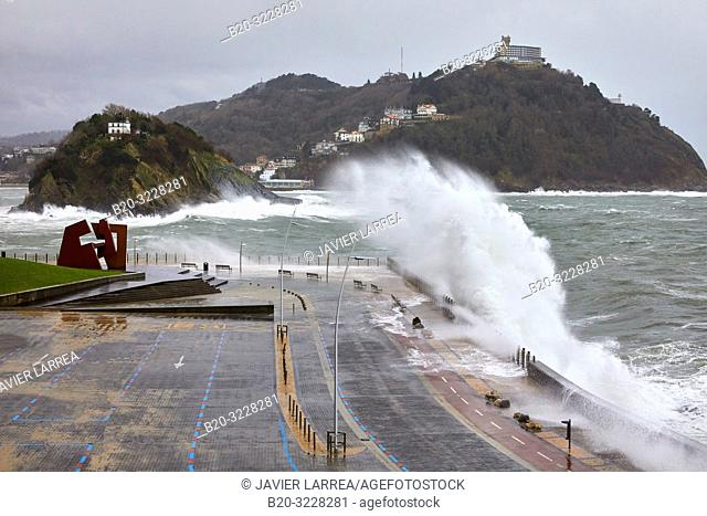 """Construcción Vacia"" by Jorge Oteiza, Tempest in the Cantabrian Sea, Waves and Wind, Explosive Cyclogenesis, Paseo Nuevo, Donostia, San Sebastian, Gipuzkoa"