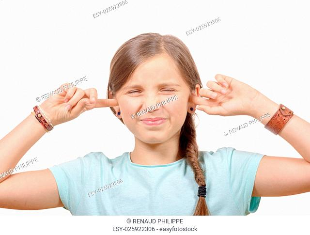 girl covering her ears, to say stop making loud noise giving me headache on white background