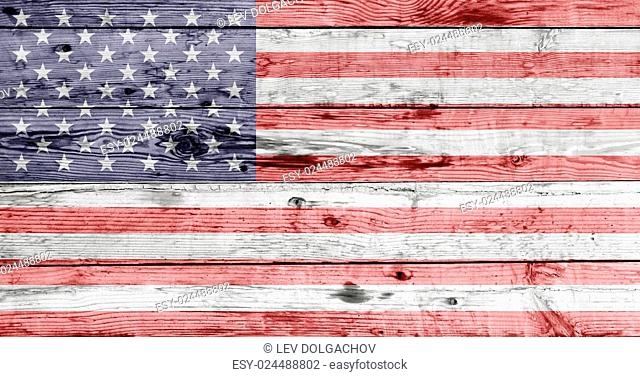independence day and patriotism concept - american flag painted on wooden texture