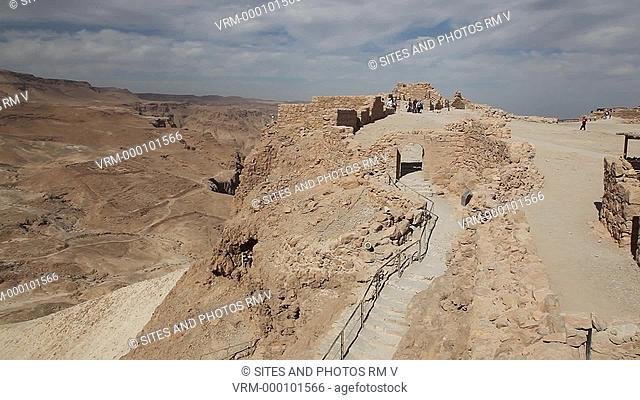 Exterior, LS, HA, Locked Down Shot, Daylight, view of the archaeological site of Masada. Seen is the Western Gate to the stronghold
