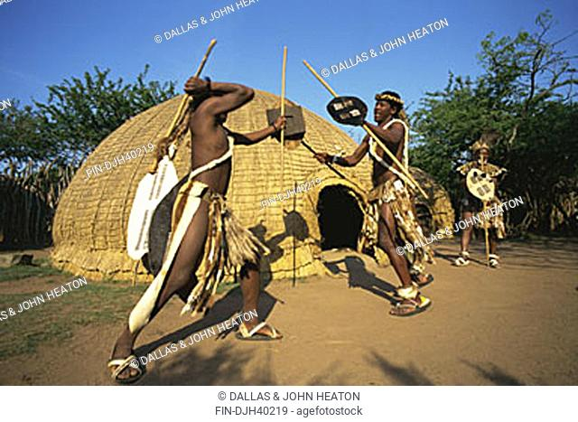 Zulu fighting with a spear Stock Photos and Images | age