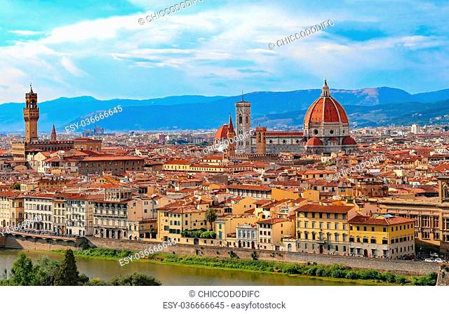 highly saturated colors Fantastic panoramic view of Florence in Italy with Duomo
