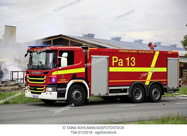 Salo, Finland. September 14, 2018. Fire destroys 5, 000 square meters of production and office spaces of Finnish Candle manufacturer Kynttila-Tuote Oy