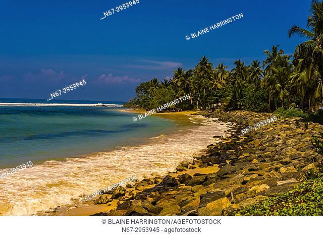 Coastline of the south coast of Sri Lanka at Talpe, Southern Province