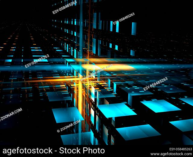 Tech or sci fi background. Fractal - abstract computer generated 3d illustration. Glowing lines and dots with perspecive effect