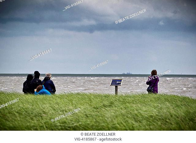 Nature lovers in the Wadden Sea National Park - Hamburger Hallig, Schleswig-Holstein, Germany, 23/06/2013