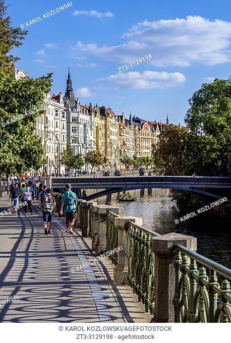 Architecture of the Nove Mesto, New Town, Masarykovo Street, Prague, Bohemia Region, Czech Republic