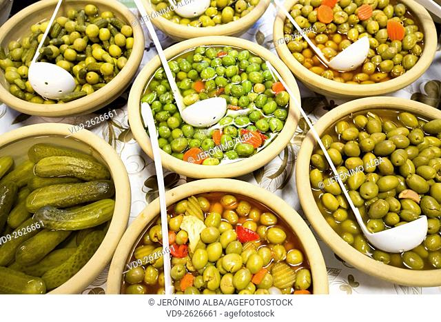 Olives and pickles Andalusia Spain