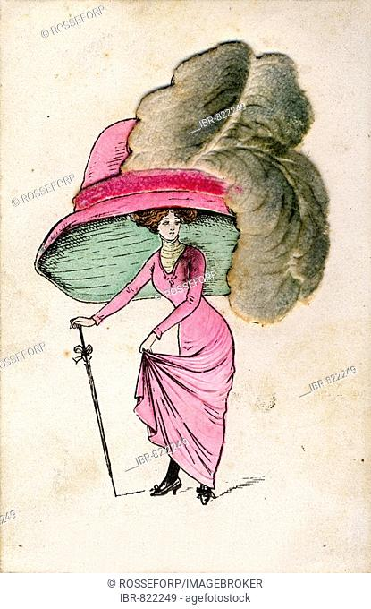 Fashion caricature about hats, historic picture from about 1900