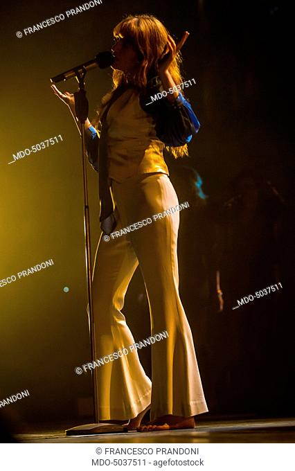 Singer Florence Welch (Florence Leontine Mary Welch) of indie rock band Florence and the Machine during her concert at Mediolanum Forum in Assago