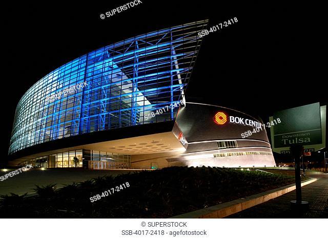 Entrance to BOk Center in Tulsa, Oklahoma at Night