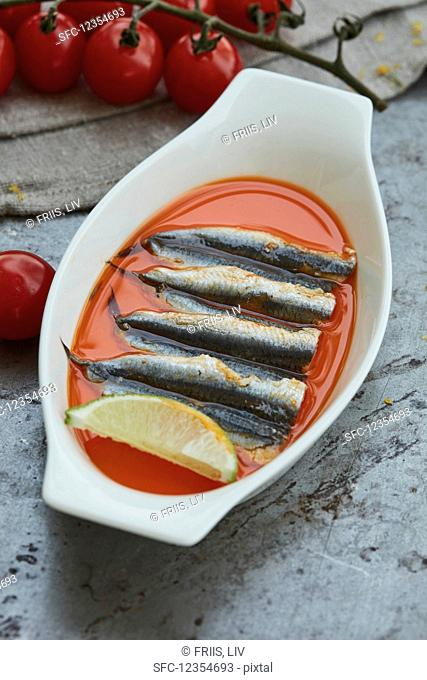 Marinated sardines in a serving bowl