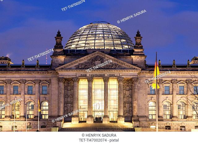 Germany, Berlin, Reichstag at night
