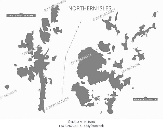 Northern Isles Scotland Map in grey