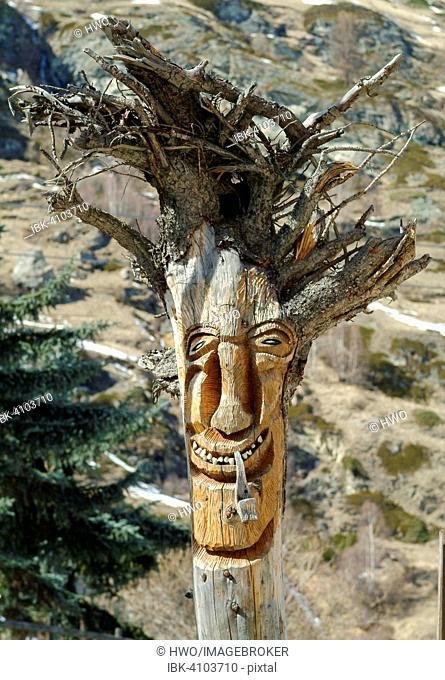 Tree root, with a carved face, Zermatt, Canton of Valais, Switzerland