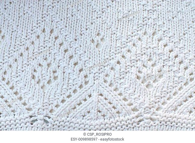White cotton knitted sweater detail