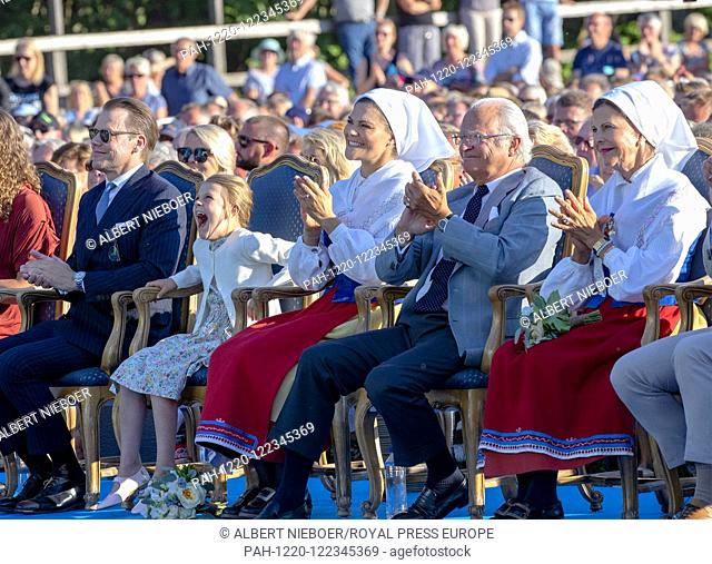 King Carl Gustaf and Queen Silvia, .Crown Princess Victoria and Prince Daniel and Princess Estelle of Sweden at the Borgholm Sports Arena in Borgholm