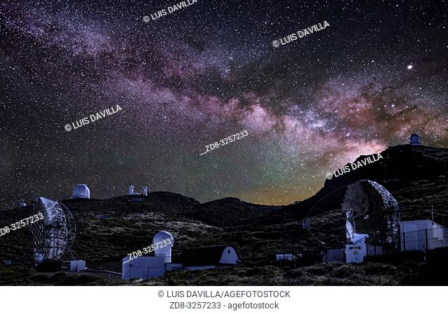 the Milky Way in roque de los muchachos astronomical observatory. garafia. la palma. canary islands. spain