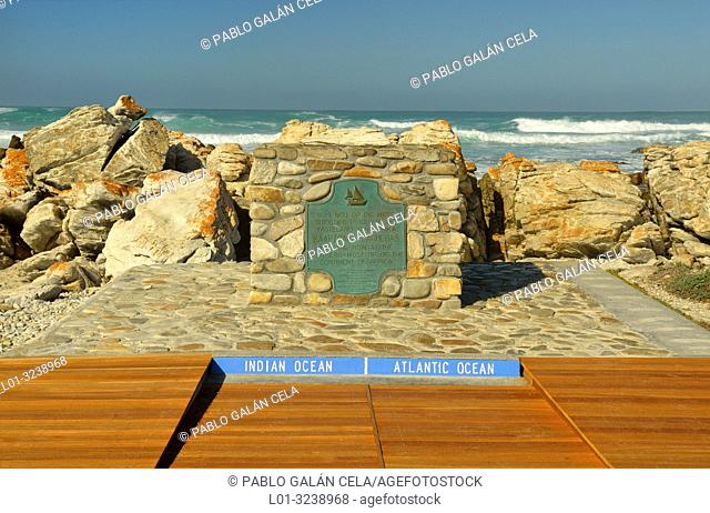 Cape Agulhas, Western Cape, South Africa. Dividing point between the Atlantic and Indian oceans