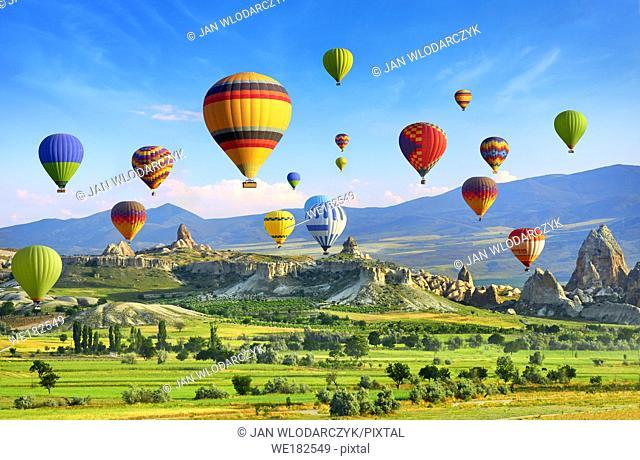 Hot air balloon flying on the sky, Cappadocia, Turkey