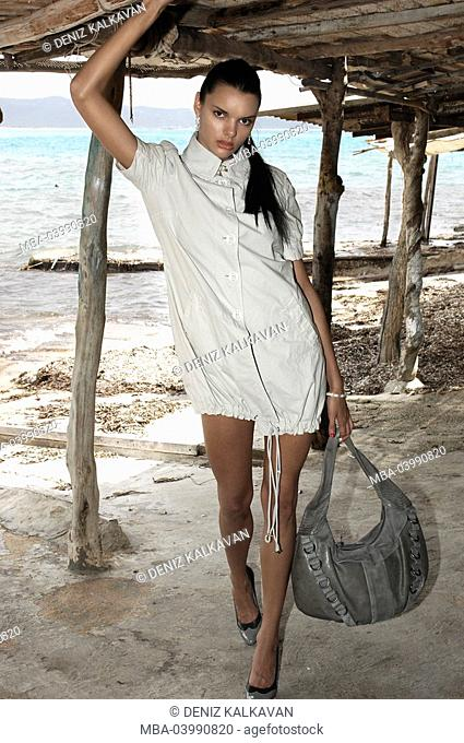 Woman, young, beach hut, sea