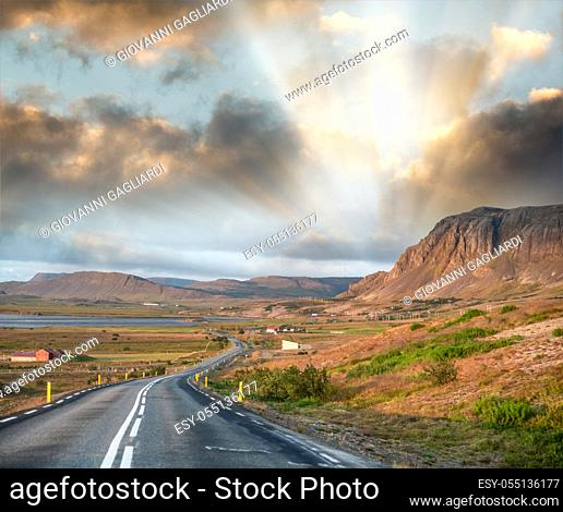 Amazing road across Iceland in summer