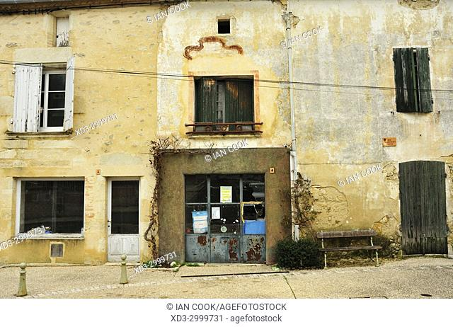 abandoned store front, Pellegrue, Gironde Department, Aquitaine, France