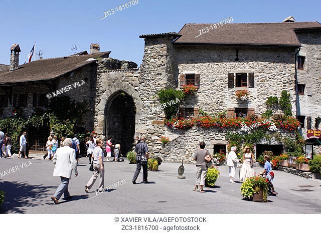 Yvoire, first flowered village of France, Haute-Savoie, Rhône-Alpes, France