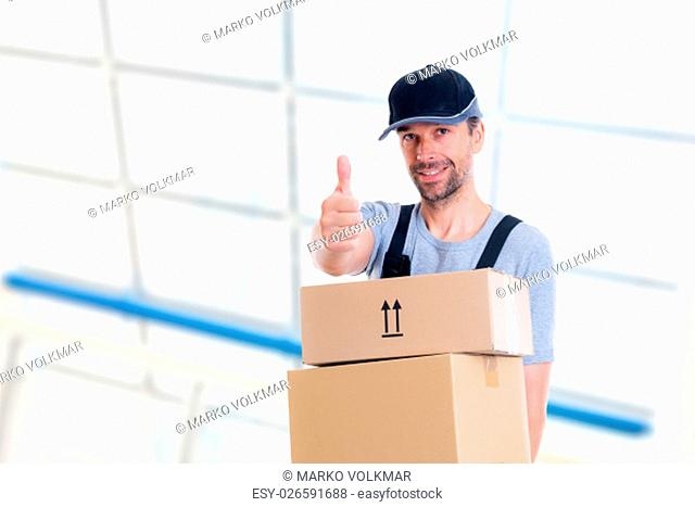 friendly postman with parcels and thumb up looking friendly