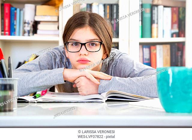 Portrait of discontent schoolgirl