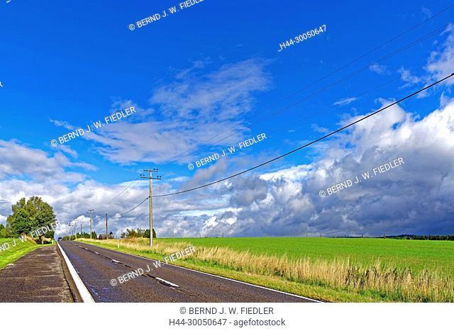 Street, scenery, Überlandleitung, Nadrin Belgium