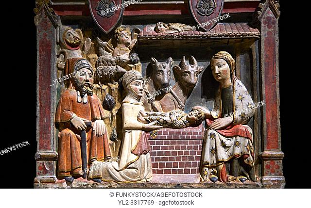 Gothic painted bas-relief of the Nativity by Master of Albesa, Active in Lleida. Polychrome and gilded limestone bas-relief