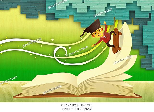 Illustration of male graduate skateboarding on an open book