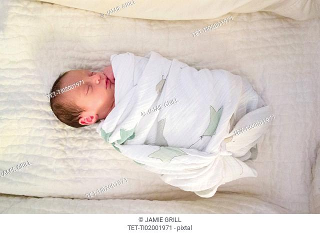 Newborn girl sleeping