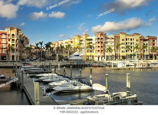 Bayfront of Naples - upscale shops and condominiums on the waterfront, Naples, Florida, USA