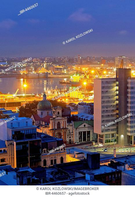 View towards the harbour, twilight, Montevideo, Uruguay